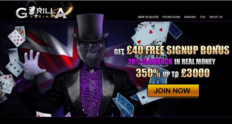 Gorilla casino : Jouez avec 3000€ gratuit depuis la France