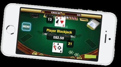 Blackjack sur mobile sans téléchargement