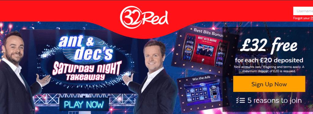 Bonus et promotions en ligne gratuits sur 32Red casino
