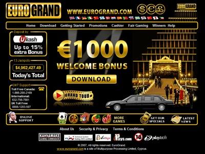 Logiciel en ligne gratuit et jeux de casino disponibles sur EuroGrand casino