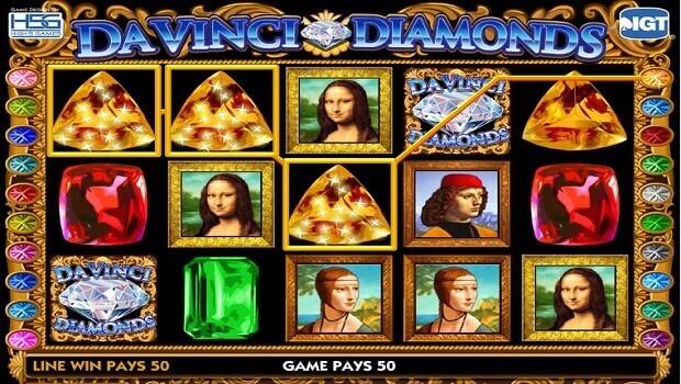 Symboles gratuits et fonctionnalités bonus sur Da Vinci Diamonds