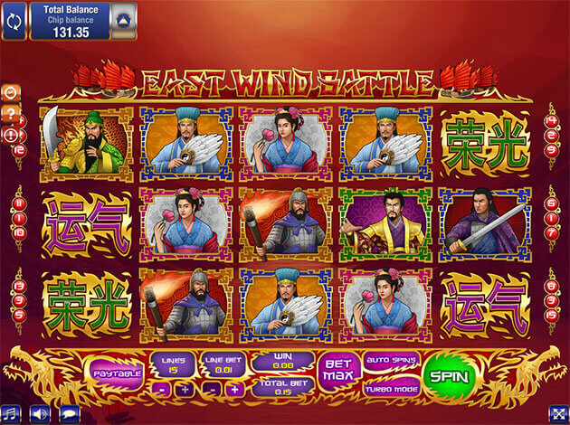 Symboles et bonus gratuits sur la machine à sous East Wind Battle