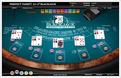 Gains et paiements au Blackjack perfect pairs dans les casinos gratuits
